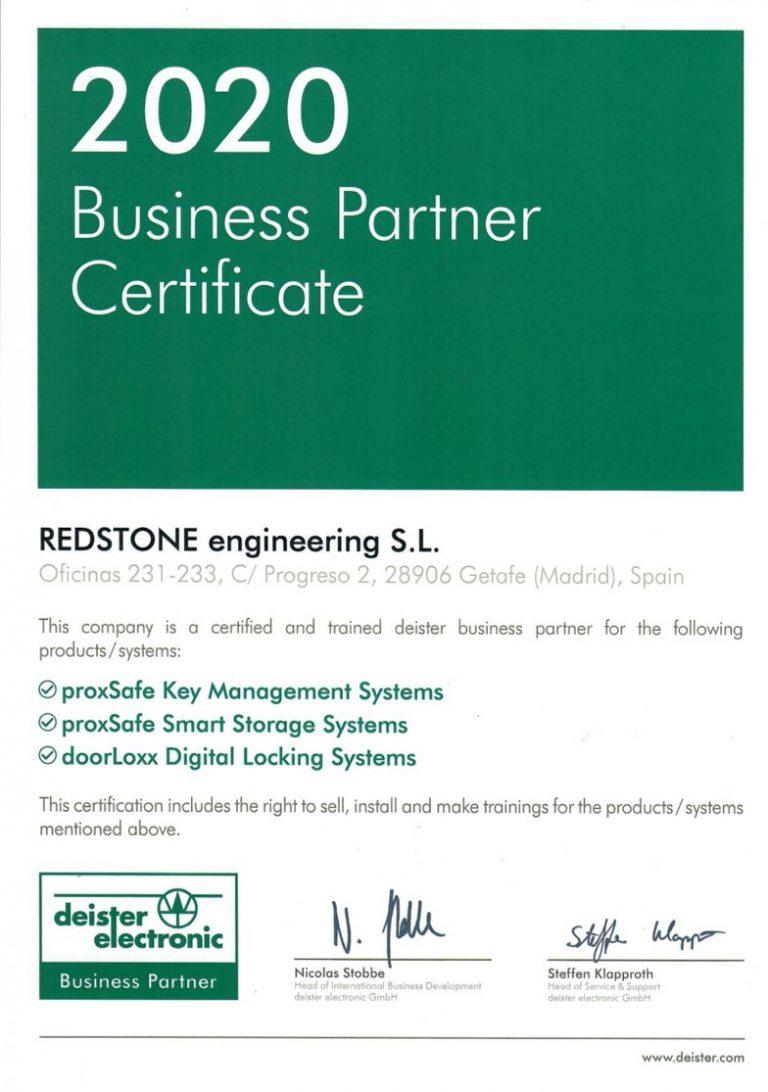 Business partnet Certificate 2020 - Redstone - Deister - Partner
